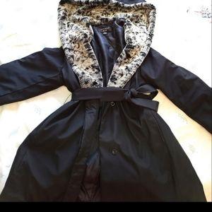 Fuweimeng leopard print hooded black jacket